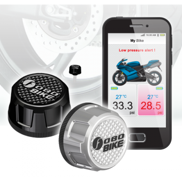 FOBO Bike Motorfiets Bandenspanning en Temp. Monitor Kit Zwart (2st, bluetooth)
